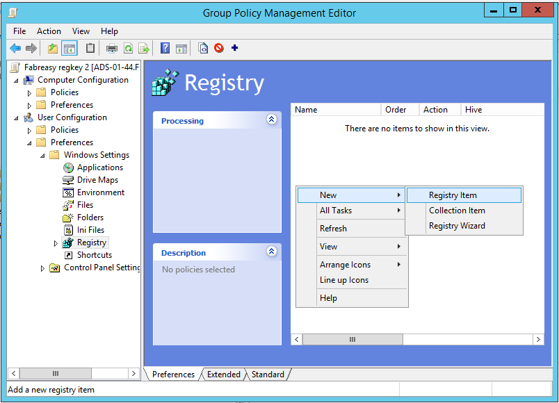 Group Policy Management - Add registry setting